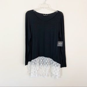 SJS • Black Tee with Lace Hem Size XL